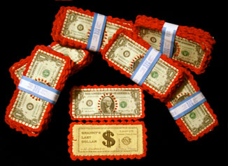 Embroidered dollar bills